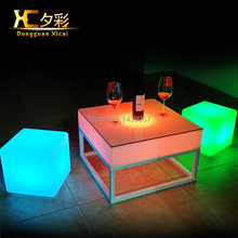 LED Outdoor Coffee End Table Plastic Dining Tables Cube Furniture For Bar Club Garden Party Ceremony Picnic Camping Resturant