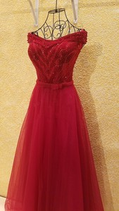 Image 4 - xl9542 vestido de festa red prom dress v neck off shoulder beaded long evening party dress for graduation vestido de festa longo