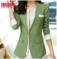 2016 Nueva Otoño Mujeres Blazer Abrigos Chaquetas Blaser Traje De Dama Formal Oficina de Trabajo de Desgaste Superior Chaquetas Mujer verde Del Ejército, rosa, Púrpura