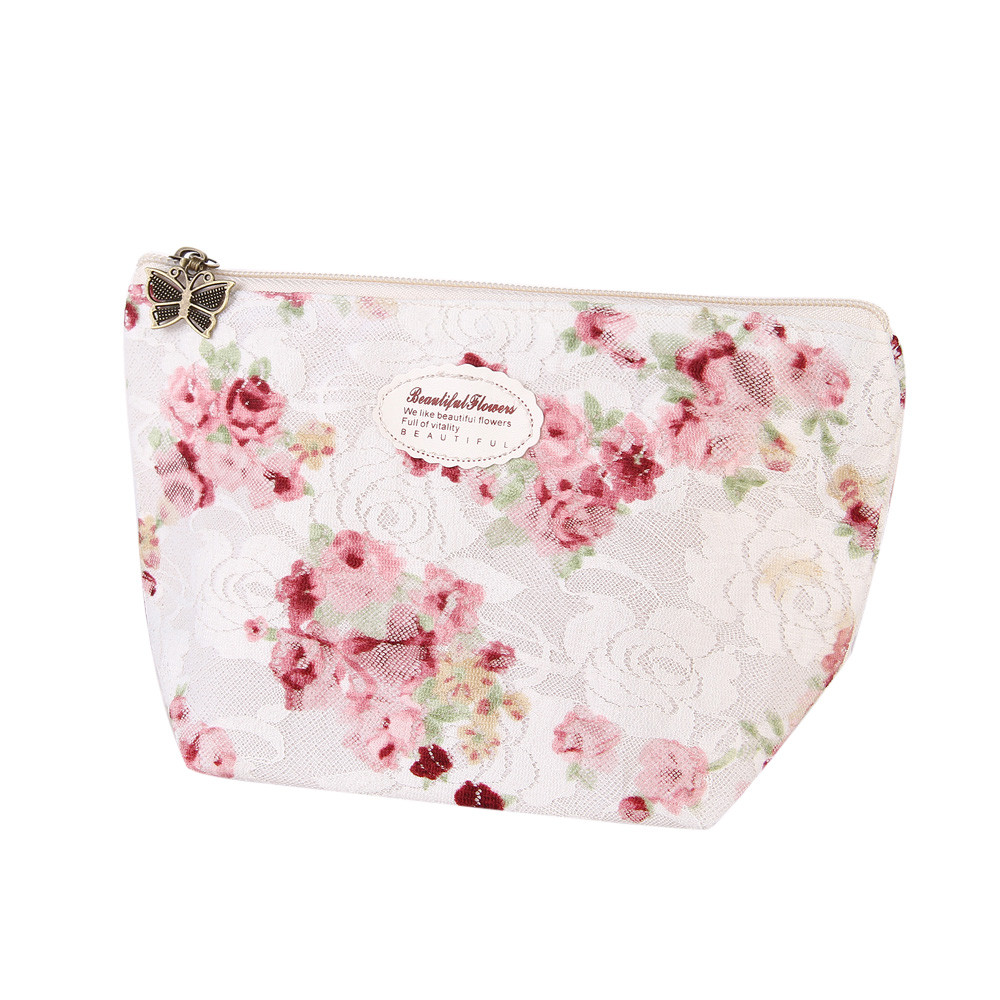 Makeup Storage Bag Floral Printing Zipper Cosmetic Bag Portable Travel Makeup Case Pouch Toiletry Organizer Bolsa Maquiagem#7103 spark storage bag portable carrying case storage box for spark drone accessories can put remote control battery and other parts