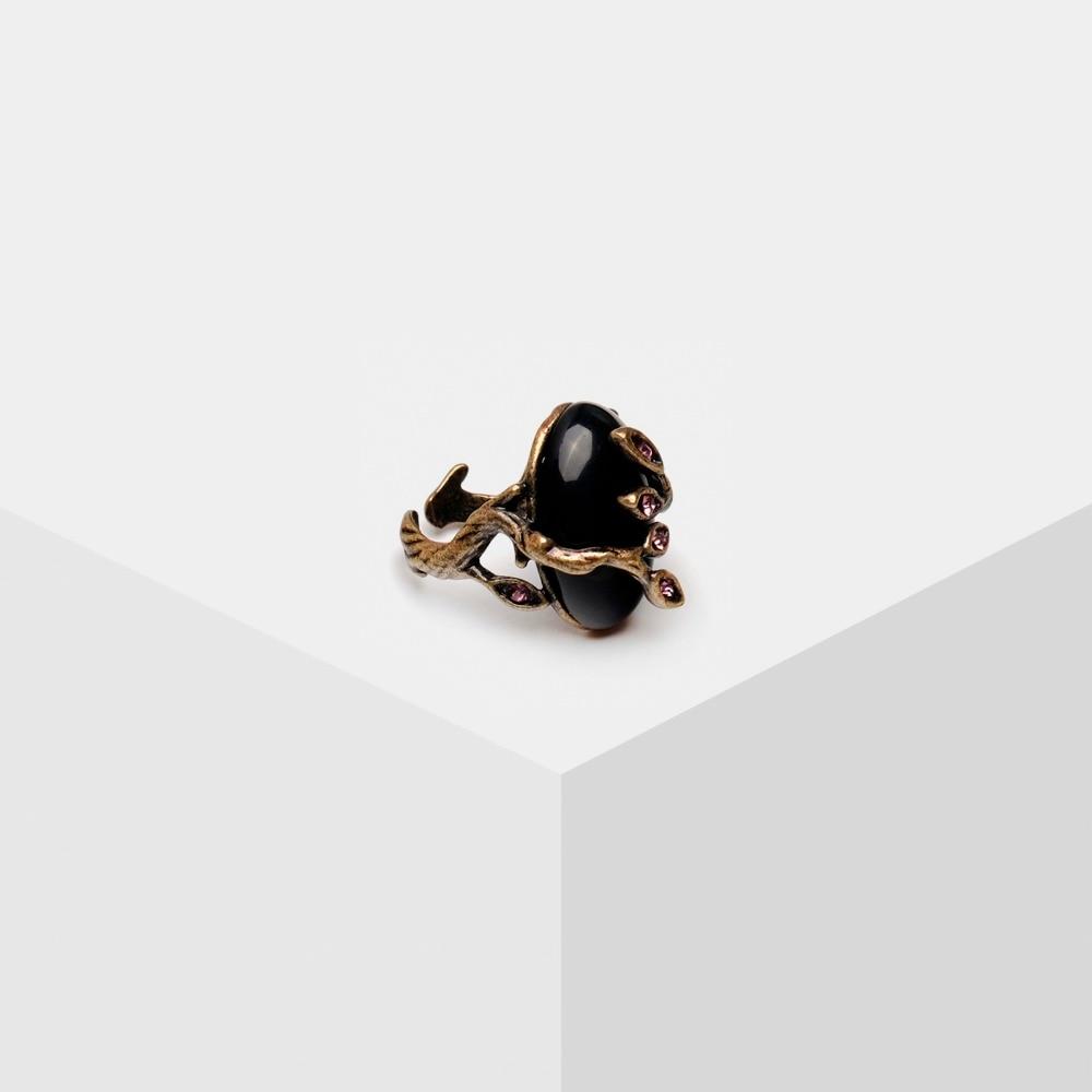 Amorita Boutique Vintage Irregular Black Ring