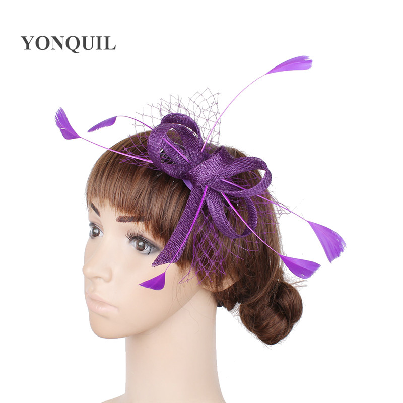 Orange or 21 Colors fancy feather sinamay women hats wedding fascinator with veisl decor on hair clips charming headdress SYF03