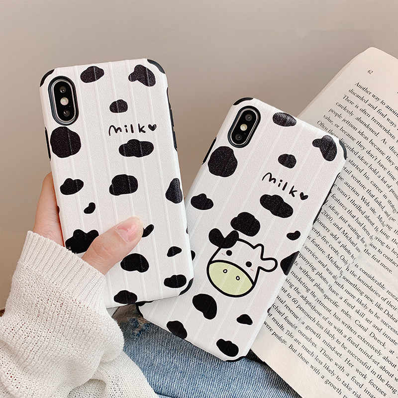 Cute Animals Milk Cow Waves Point  Phone Case For iPhone 7 7 Puls 6 6S 7 8 X Xs XR Xsmax Case Retro White Soft Silicone Cover