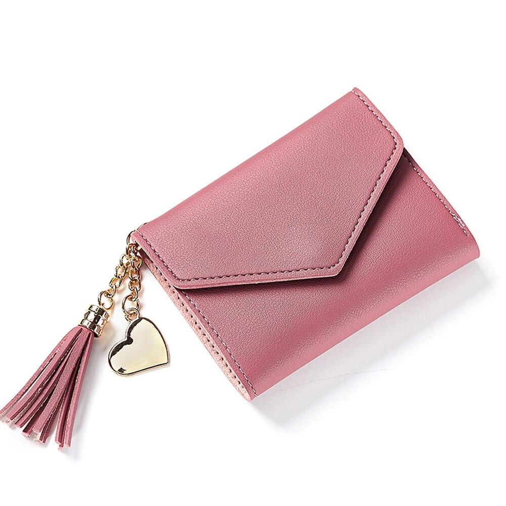 4 цвета PU складной кошелек короткие модные сумки банковская карта кошелек для покупок монета - Цвет: red