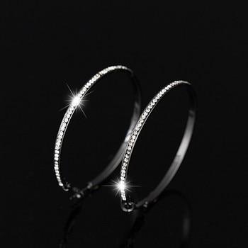 2018 Top Popular Earrings With Rhinestone Circle Earrings Simple Earrings Big Circle Gold Color Hoop Earrings For Women E005 1