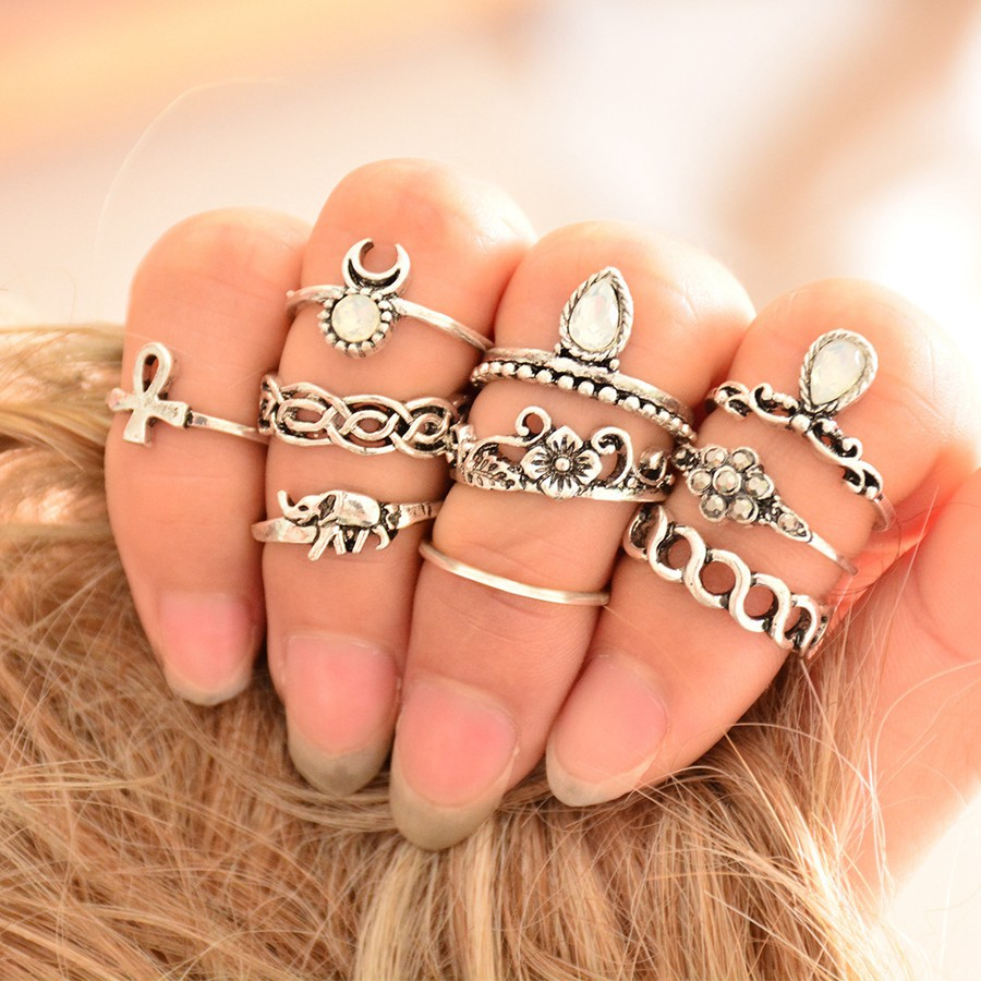 10pcs/Set Boho Ring Set Bohemia Tibetan Silver Rings Set Moon Elephant Crystal Turkish Finger Ring Women Leaf Anel Joint Ring