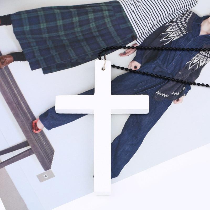 Vintage karoliai didelis pakabukas etninės karoliai medinis kryžius - Mados papuošalai - Nuotrauka 4