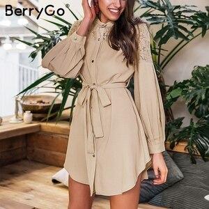 Image 2 - Женское кружевное платье рубашка BerryGo, однотонное Сетчатое офисное платье с вышивкой, длинными рукавами и пуговицами, Летнее мини платье с поясом