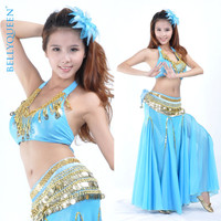 2015 New Style Bollywood Indian Belly Dance Costume With Sexy Top Skirt Coins Belt Bellydance Dancewear