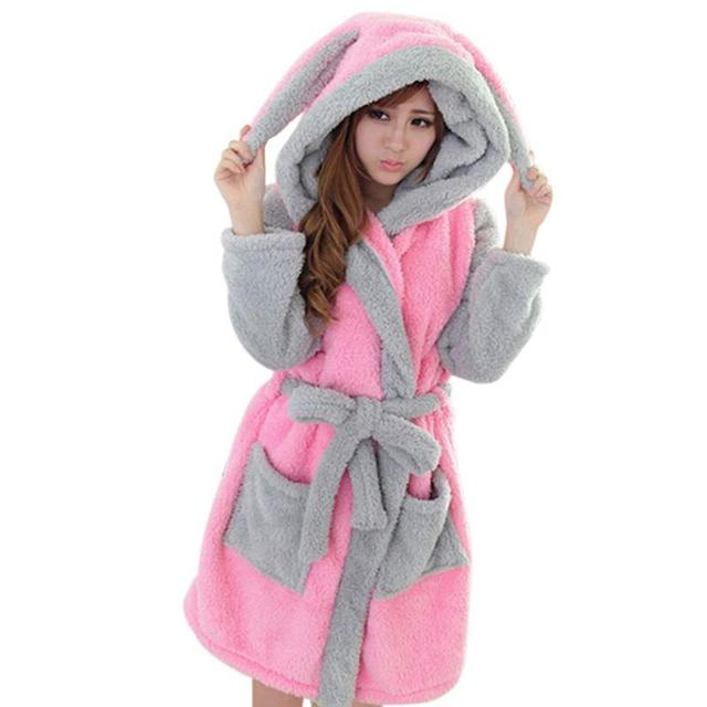 New  Warm Winter Sleepwear Lady Pajamas Bath Robe  Women Coral Velvet Bathrobes Women Cartoon Panda Homewear