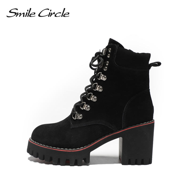 Smile Circle Big Size 33-43 Suede Cow Leather Ankle Boots Women High Heel Shoes Autumn Winter Lace-up Lady Shoes Warm Short Boot