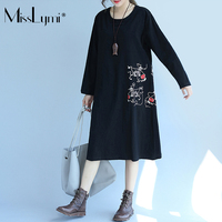 MissLymi XL XXL XXXL Women Black Linen Long Dresses 2017 Autumn Vintage Long Sleeve Cartoon Anime