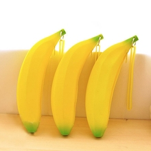 Novelty Yellow Banana Silicone Pencil Case Stationery Storage Bag Coin Purse Key Wallet Gift Stationery