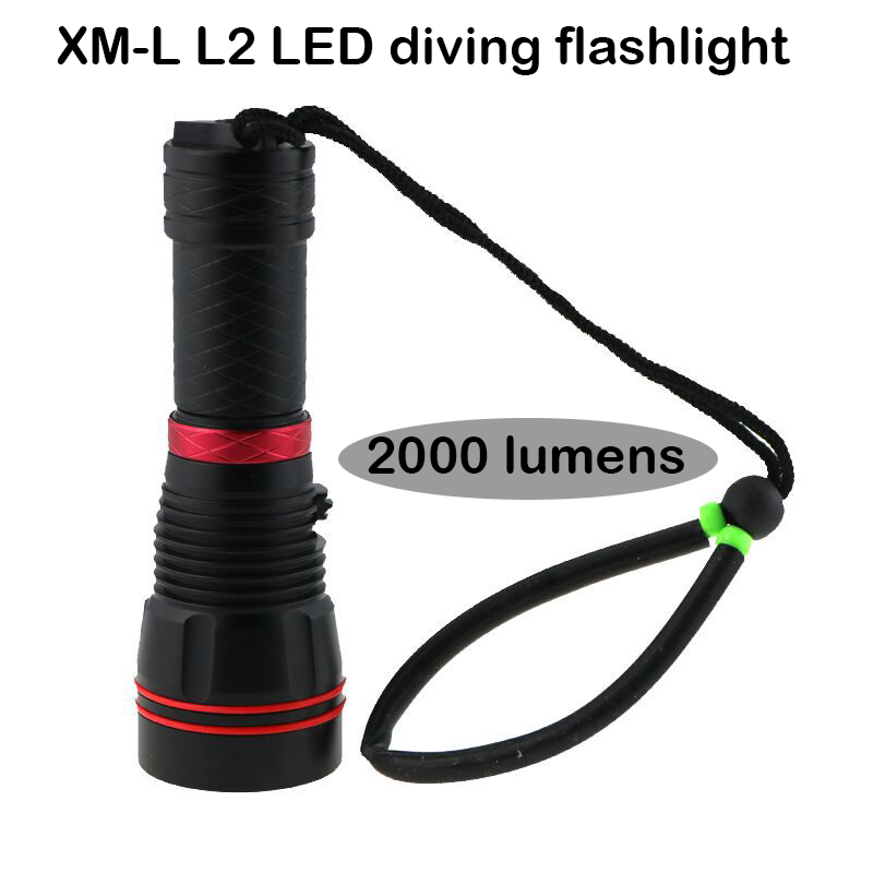 2000 lumens diving flashlight cree xml L2 torch high power adjustable led flashlight / 1*26650mAh battery new flashlight 18000 lumens high power 15x xml t6 led torch 1000m lighting distance hunting light by 4x 26650 battery
