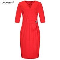 Elegant Office Lady Plus Size Dress 2017 Solid V Neck L 6XL Women Dresses Large Size