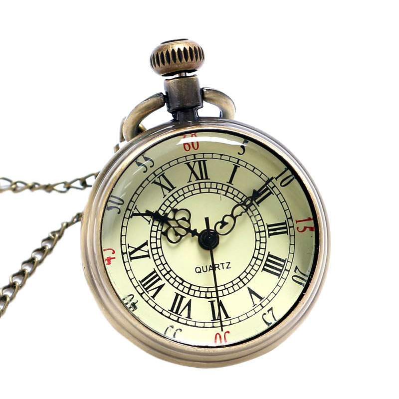 Bronze Roman Pocket Watch Antique Numerals Chain Necklace Pendant Quartz LXH