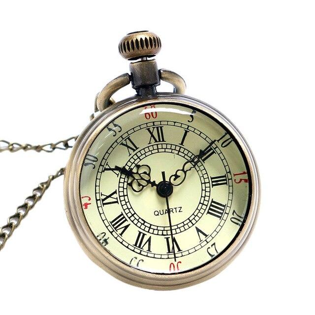Bronze Roman Pocket Watch Antique Numerals Chain Necklace Pendant Quartz LXH