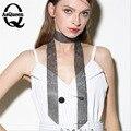 Collar de la declaración mujeres de la moda 2017 collar de la vendimia de big chunky choker collares largos de cadena de seda de malla de cadena de perforación