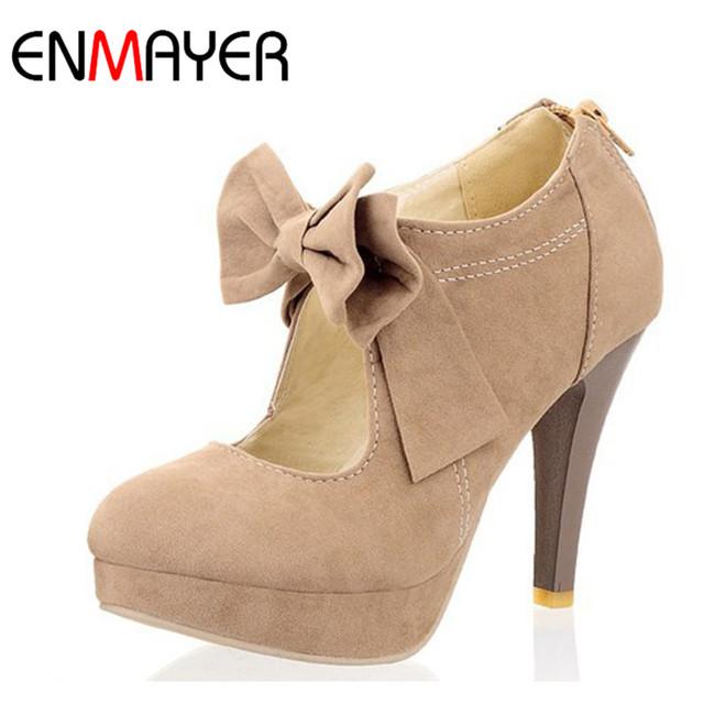 Enmayer venda novo estilo dedo do pé redondo moda estilo retro vintage mulher Pequeno Arco Plataforma Bombas Sexy lady Sapatos De Salto Alto mulheres