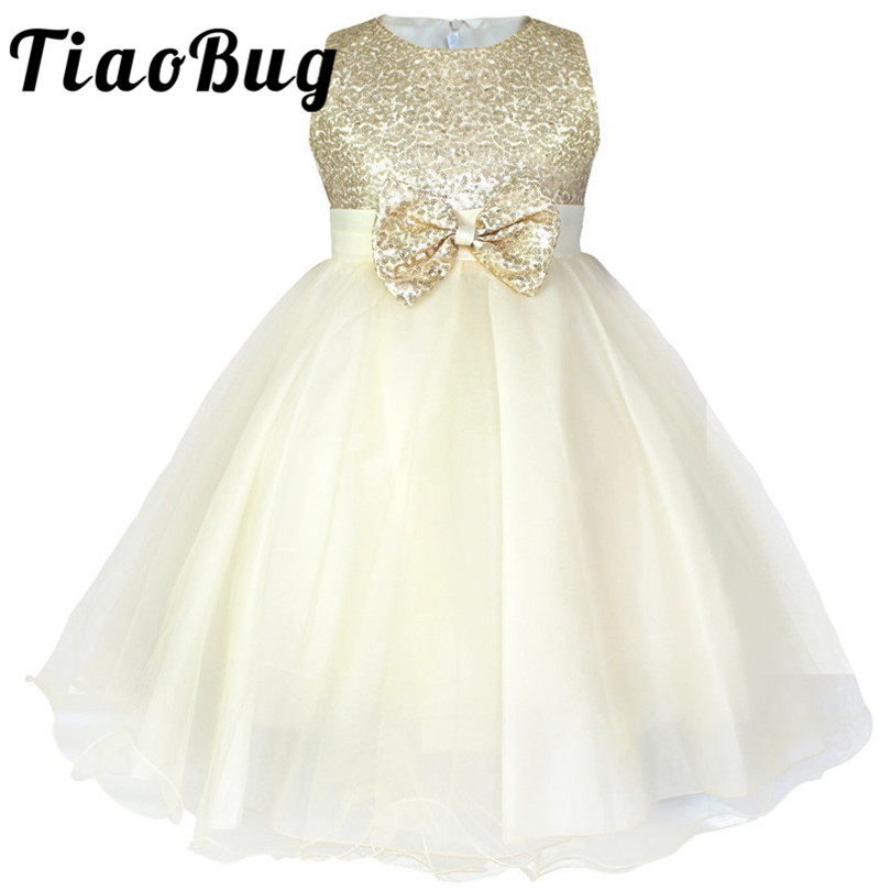 New Chiffon Wedding Gown Flower Girl Dress Rhinestones Sequin Party Kids Clothes