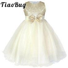 2 14 diz boyu çocuklar pullu çiçek kız elbise çocuklar Pageant parti düğün balo balo prenses örgün Occassion kız elbise