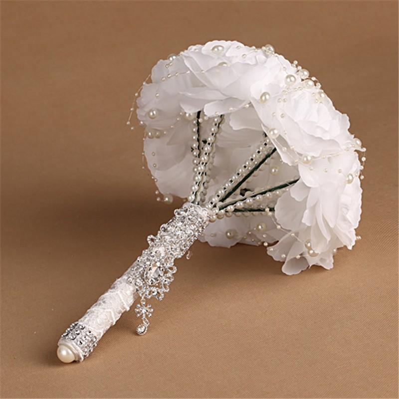 Elegant Bridesmaid Flower Wedding Bouquet Artificial Buquet de noivas Handmade White Beaded Bridal Bouquets Brooch (4)