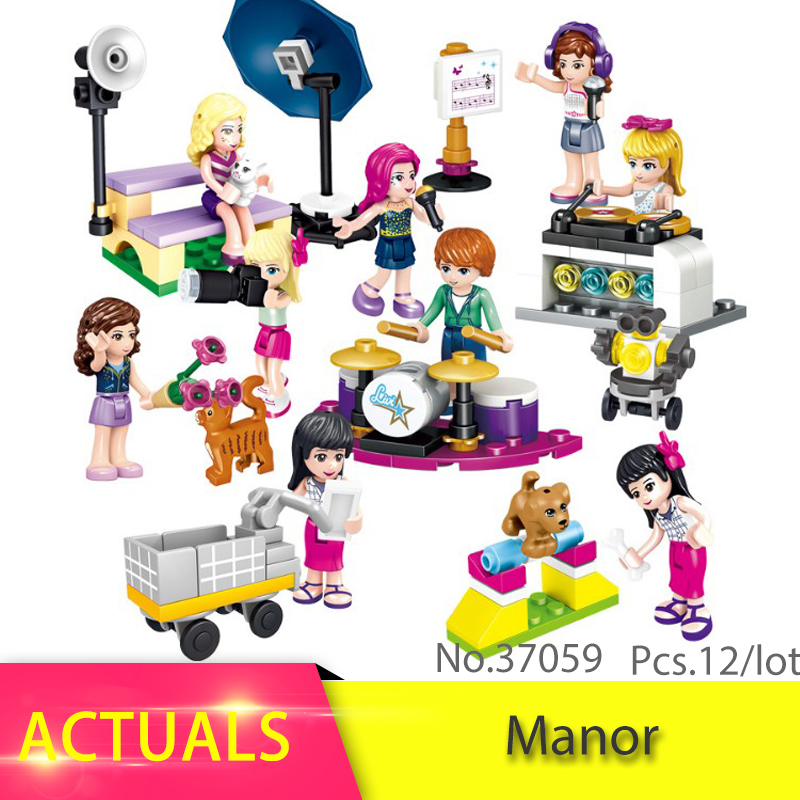 Good Friends Series 12ps/lot Party House Model Building Block Brick set Girl Funny birthday Toys For Children compatible Leoging