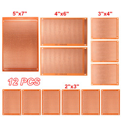 Universal 12 pçs/lote elétrica circuito impresso protótipo pcb placa de pão stripboard kit placa de cobre diy teste único lado