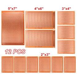 Universele 12 stks/partij Elektrische Gedrukt Circuit Prototype PCB Board Breadboard Stripboard DIY Koperen Plaat Kit Test Enkelzijdige