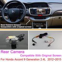 Dla Honda Accord 9 generacji 2.4L 2012 ~ 2015 RCA i oryginalny ekran kompatybilny/widok z tyłu kamera zestawy/ kamera cofania kamera cofania w Kamery pojazdowe od Samochody i motocykle na
