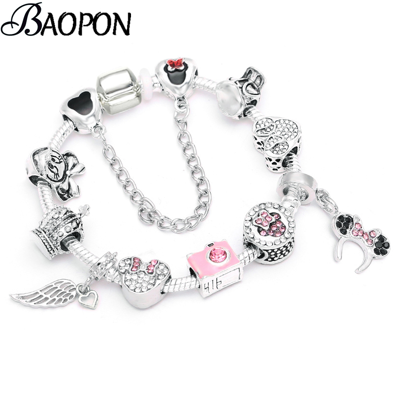 BAOPON Dropshopping High Quality Crystal Camera Beads Charm Bracelets DIY European Fine Bracelets For Women Jewelry Gift image