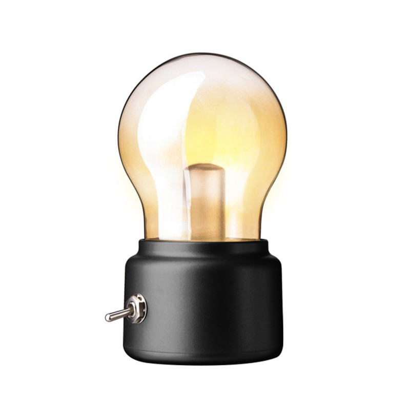 5V USB Charge Retro Style Rechargeable Light Bulb Night Light LED Creative Bedside Lamp Black/Gold 2 Color