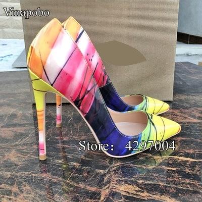 Sexy Pompes Parti Talons Haute Bout 10cm Haut Stiletto Mariage Cuir Chaussures En Talon De Femmes Impression Mode Pointu Verni 8cm Multicolors 12cm nIr8IxqS