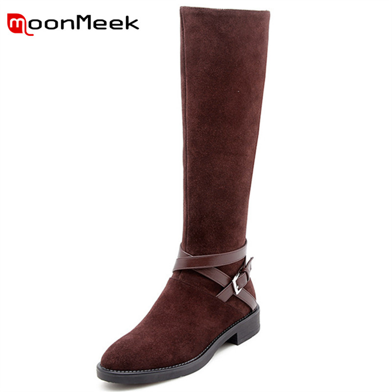 MoonMeek fashion 2018 autumn winter long boots woman casual low heel knee high boots hot sale cow suede leather ladies bootsMoonMeek fashion 2018 autumn winter long boots woman casual low heel knee high boots hot sale cow suede leather ladies boots