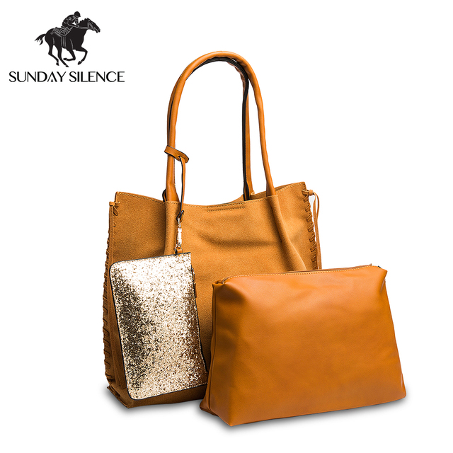 a6df347aa3a7 3Pcs Set Fashion shoulder bags Women Handbag Female Purse Solid Shoulder  Bags Office Lady Casual