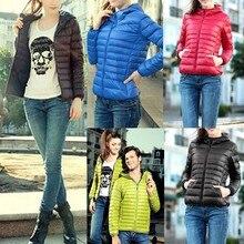 Новые Женщины Повседневная Капюшоном С Длинным Рукавом Легкий Вес Твердого Теплая Куртка