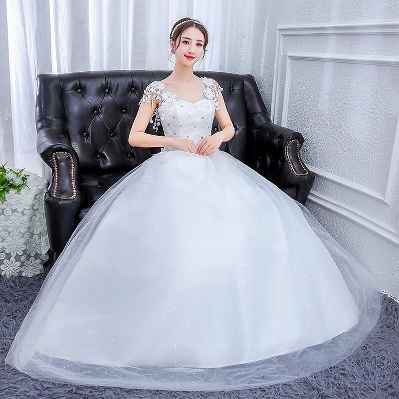 Gelinlik Elegant White Boho Wedding Dresses Ball Gown V Neck Crystal Appliques Lace Up Formal Bride