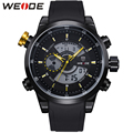 WEIDE Brand Fashion Men Sports Watches Soft PU Strap Stainless Steel Buckle Men's Quartz Military Army Waterproof Wrist Watch