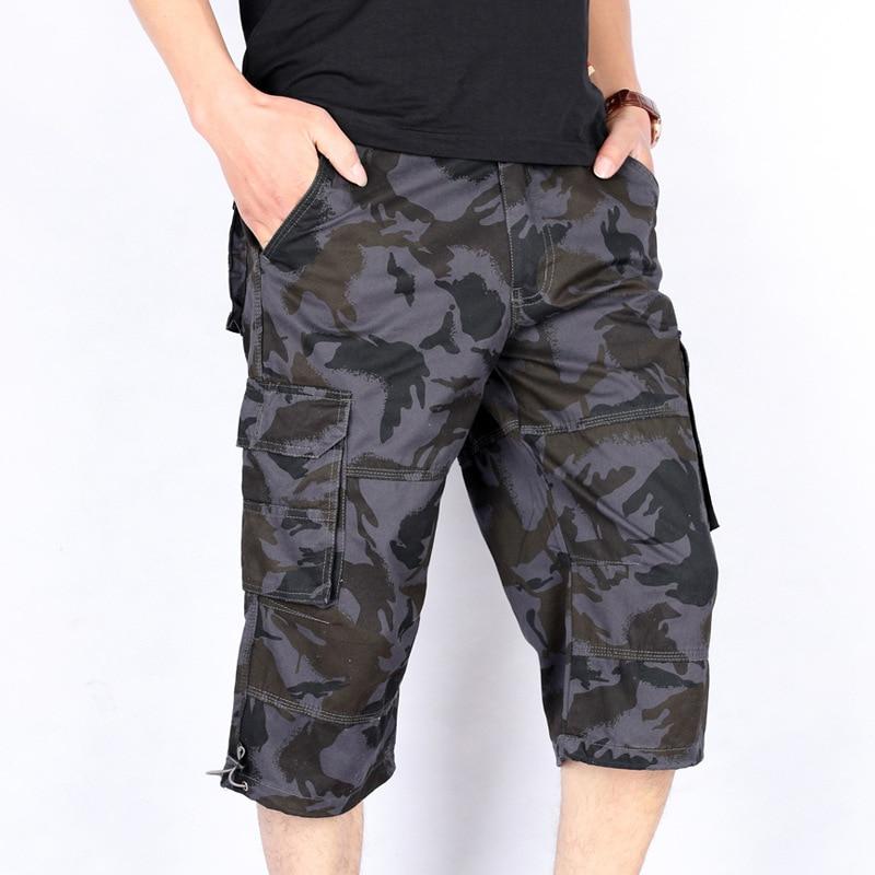 New Mens Elasticated Camouflage Shorts Knee Length Cargo Combat Multi Pocket