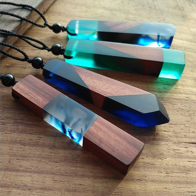 1PC fashion wooden necklace pendant Vintage men women unisex resin chain jewelry gifts DIY wholesale accessories