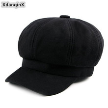 XdanqinX Snapback Cap 2019 Autumn New Womens Hat Warm Cotton Newsboy Caps British Fashion Knitted Retro Sports For Women