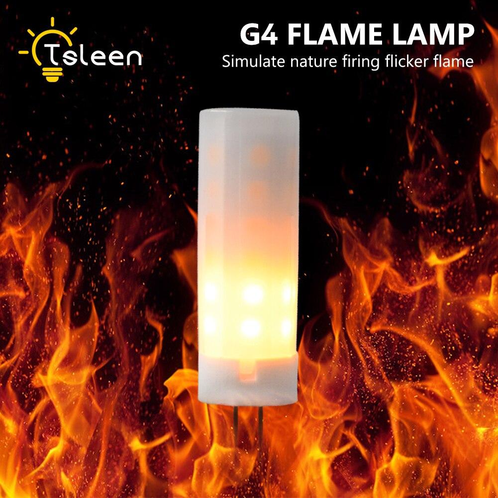 TSLEEN G4 8-30V Led Corn Dynamic Flame Lamps LED Flame Effect Light Bulb 1700K Flickering Emulation Fire Lights Decorative Lamp