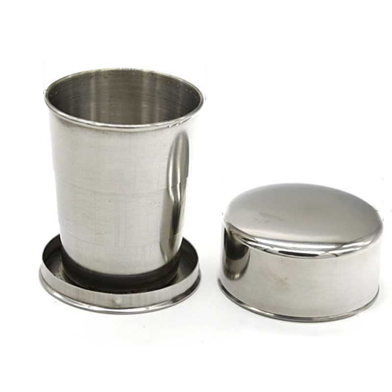 Outdoor Folding Cup Portable Collapsible Mug Cup Travel Hiking Camping Tool Survival EDC Gear Stainless Steel 140ML