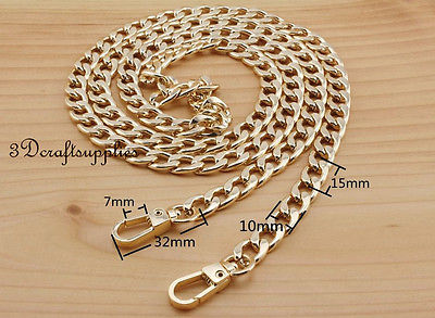 Bag Chain Purse Chain For Bag Metal Shoulder Chain Cross Body Strap Chain Gold 120 Cm AT90