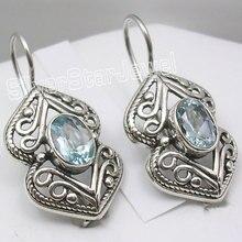 Chanti международных чистого серебра Blue Topas под старину Стиль Для женщин Jewellery Серьги 1 1/8 дюйма