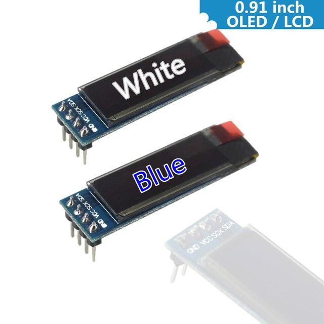 0.91 بوصة 128x32 IIC I2C الأبيض/الأزرق OLED شاشة الكريستال السائل DIY وحدة SSD1306 سائق IC DC 3.3 V 5 V لاردوينو