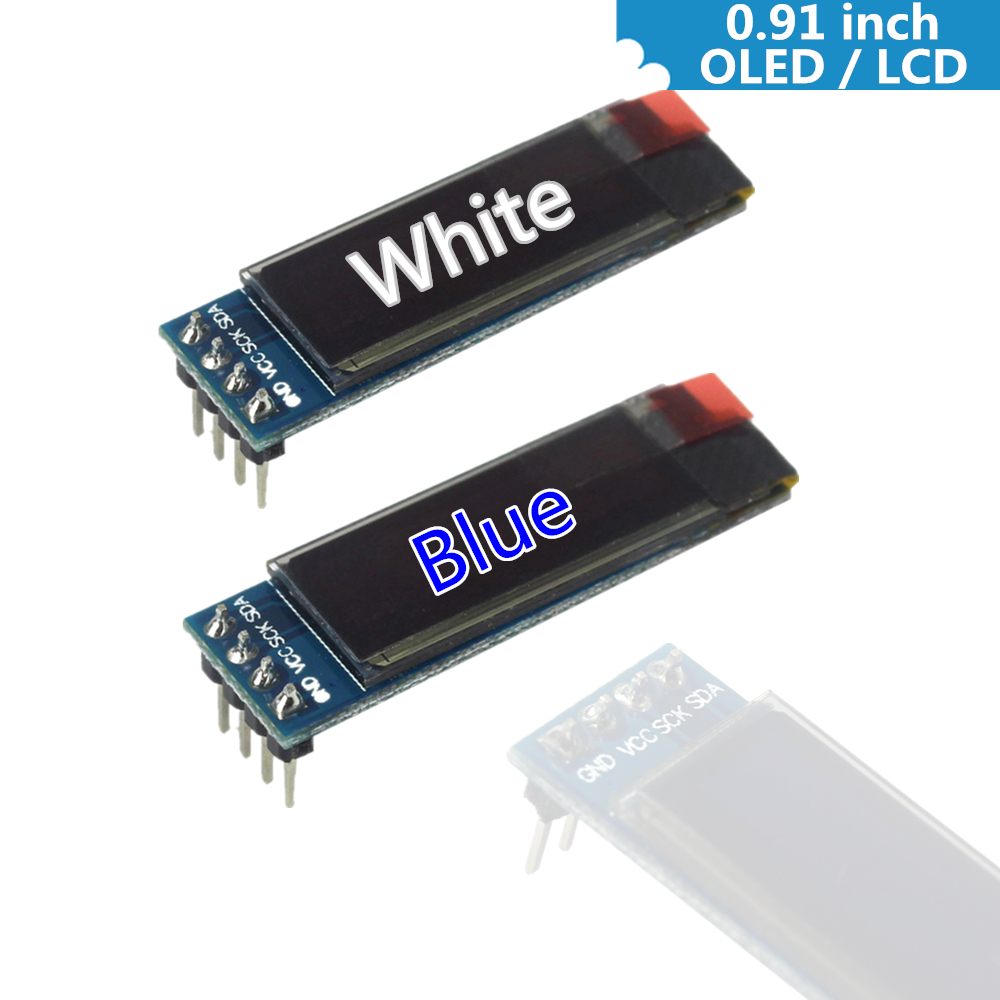0.91 Inch 128x32 IIC I2C White / Blue OLED LCD Display DIY Module SSD1306 Driver IC DC 3 ...
