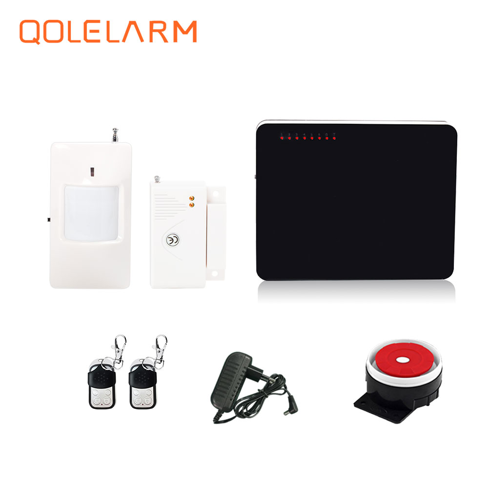 433 mhz wireless economic gsm alarm system for home security wired siren 110 db with battery PIR detector magnetic door sensor
