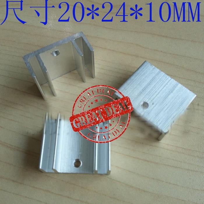 Free Shipping Wholesale 100PCS High Quality Aluminum Heatsink Diode 20*24*10MM Transistor Heatsink Silver Ic Chipset Heatsink