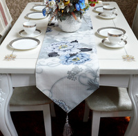 Fashion Amazing Chinese style blue flower table runner Lace Luxury Table flag